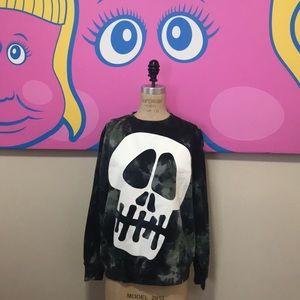 Stuasy Skull Camo Sweatshirt Olive screen White